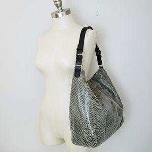 Sorial NY Sammy Snake Embossed Leather Hobo Bag